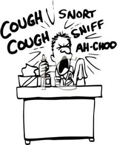 0511-1010-2117-0207_Sick_Guy_Sneezing_and_Coughing_at_His_Desk_clipart_image
